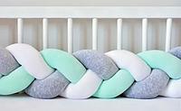 """Защитный бортик в кроватку """"Косичка"""" 240 см (белый_серый_мятный) хлопковый велюр, фото 1"""