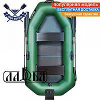 Надувная лодка Ладья ЛТ-240А-СТ двухместная гребная лодка пвх ТРАНЕЦ слань-коврик надувний гребний човен