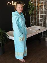 Махровый женский халат с капюшоном Голубой