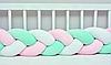 """Защитный бортик в кроватку """"Косичка"""" 360 см (белый_пудра_мятный) хлопковый велюр"""