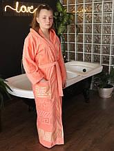Махровый женский халат с капюшоном Персиковый
