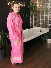 Махровый женский халат с капюшоном Розовый