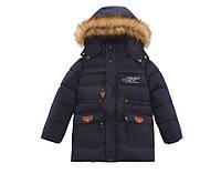 Зимний теплый пуховик куртка парка для мальчика подростка 11 - 12 лет, рост 152 -158, на флисовой подкладке