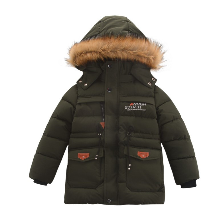 Зимняя теплая куртка для мальчика с капюшоном на флисовой подкладке, цвет темно-зеленый