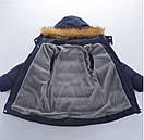 Зимняя теплая куртка для мальчика с капюшоном на флисовой подкладке, цвет темно-зеленый, фото 3