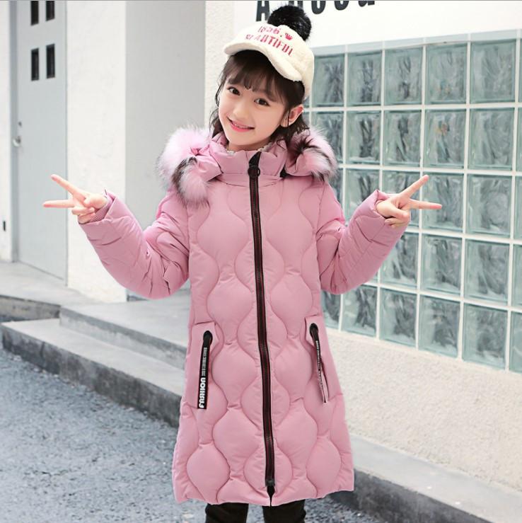 Теплое длинное пальто пуховик для девочки 5 до 10 лет с капюшоном розовый цвет