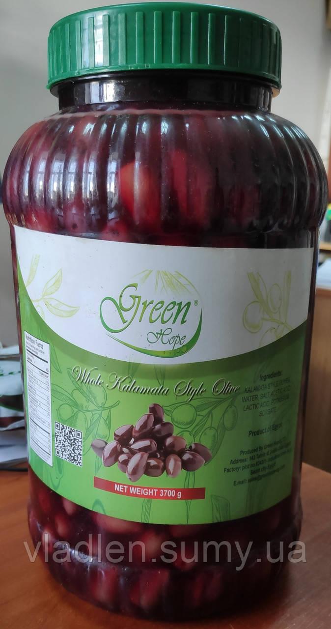 Оливки черные Каламата с косточкой высший сорт 3,7 кг TM Green Hope (Египет)
