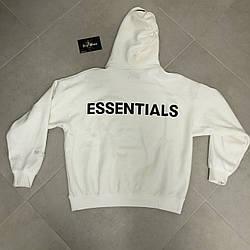 Толстовка белая Essentials Logo Back   Худи Essantials   Кенгуру есентиалс