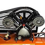 Компрессор ременной V 2.5кВт 100л (2 крана) Grad (7044185) + Набор лакокрасочный 5шт с в/б GRAD, фото 4