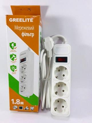 Мережевий фільтр-подовжувач Greelite G183 на 3 розетки 1.8 м White, фото 2
