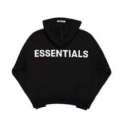 Толстовка черная Essentials Back Logo   Худи Essantials   Кенгуру есентиалс