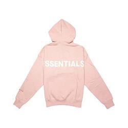 Толстовка розовая Essentials Back Logo   Худи Essantials   Кенгуру есентиалс