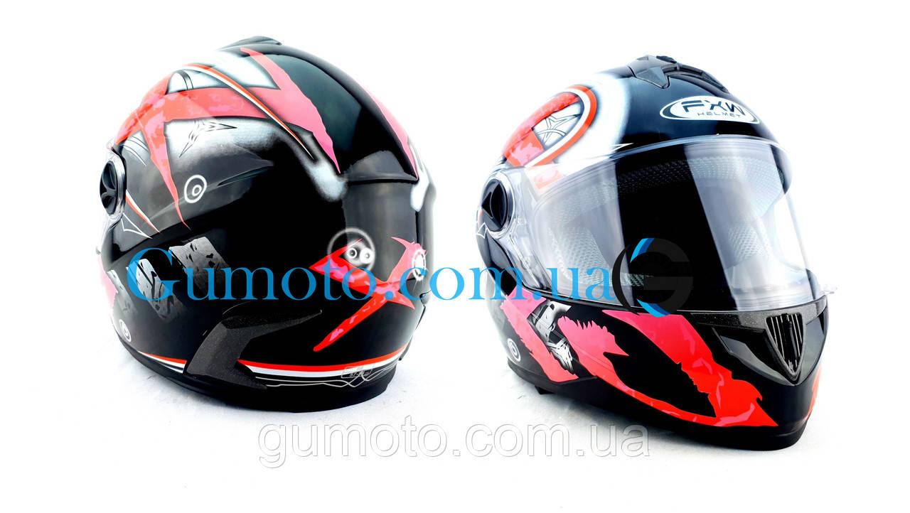 Шлем для мотоцикла Hel-Met 122 черный с красным размер S/M