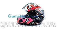 Шлем для мотоцикла Hel-Met 122 черный с красным размер S/M, фото 2