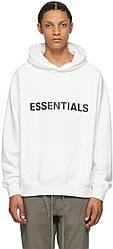 Толстовка белая Essentials Front Logo   Худи Essantials   Кенгуру есентиалс