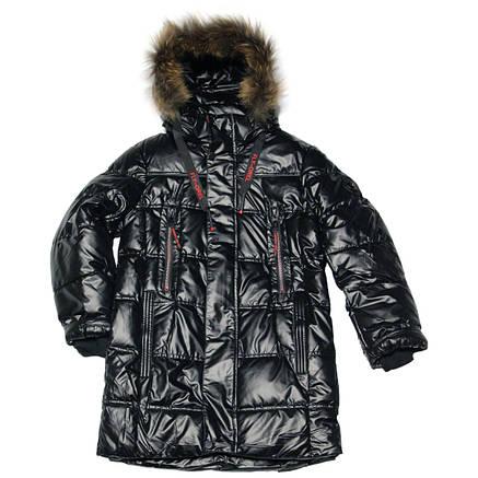 Зимняя подростковая удлиненная куртка для мальчика 164 рост черная, фото 2