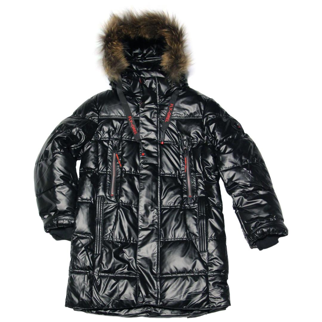 Зимняя подростковая удлиненная куртка для мальчика 164 рост черная