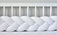 """Защитный бортик в кроватку """"Косичка"""" 360 см (белый) хлопковый велюр"""