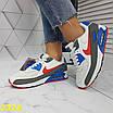Кроссовки белые с синим с компенсатором, фото 5