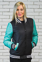 Куртка бомбер женская т.син+мята