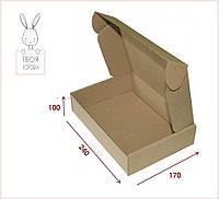 Коричнева картонна коробка для оформлення подарунків 240x170x100 Самозбірна крафт-коробка (10 шт/уп)