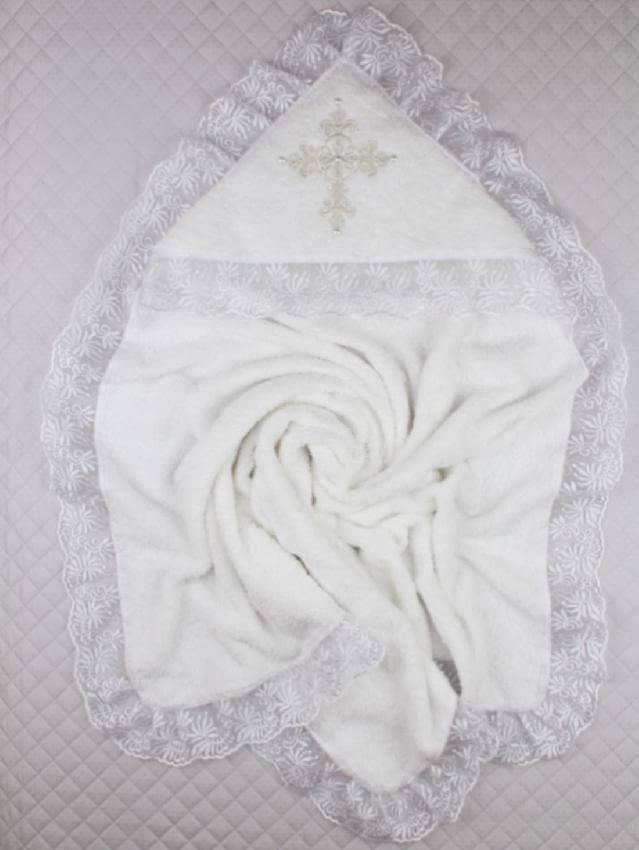 Крыжма для крещения махровая с уголком 90х90 Ласковая