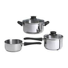 АННОНС Набір кухонного посуду, 3 предмета, скло, нержаіюча сталь сталь