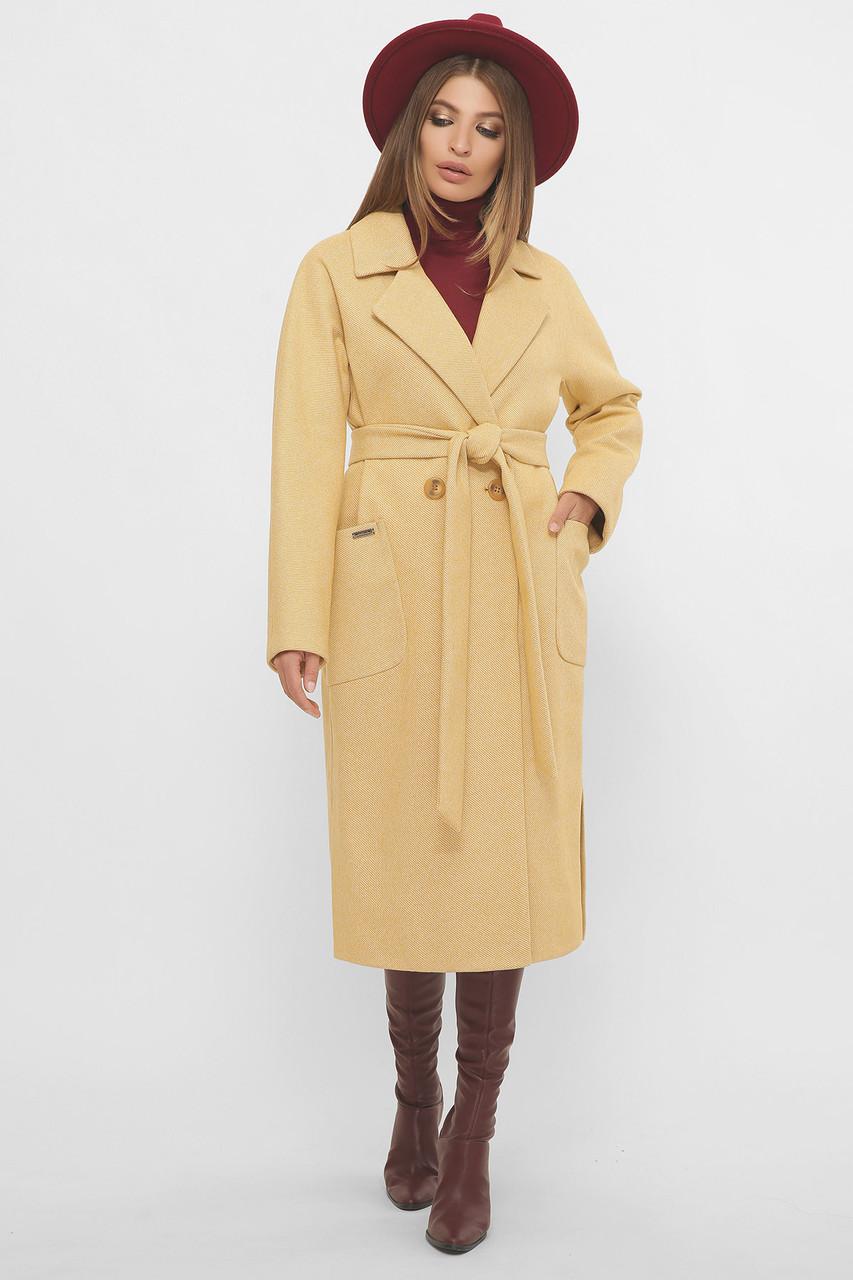 Женское Пальто MS-265 GLEM горчица размер 46, (030-0004)