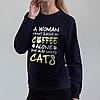 Темно-синий женский свитшот, Coffee Cats