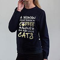 Темно-синий женский свитшот, Coffee Cats, фото 1