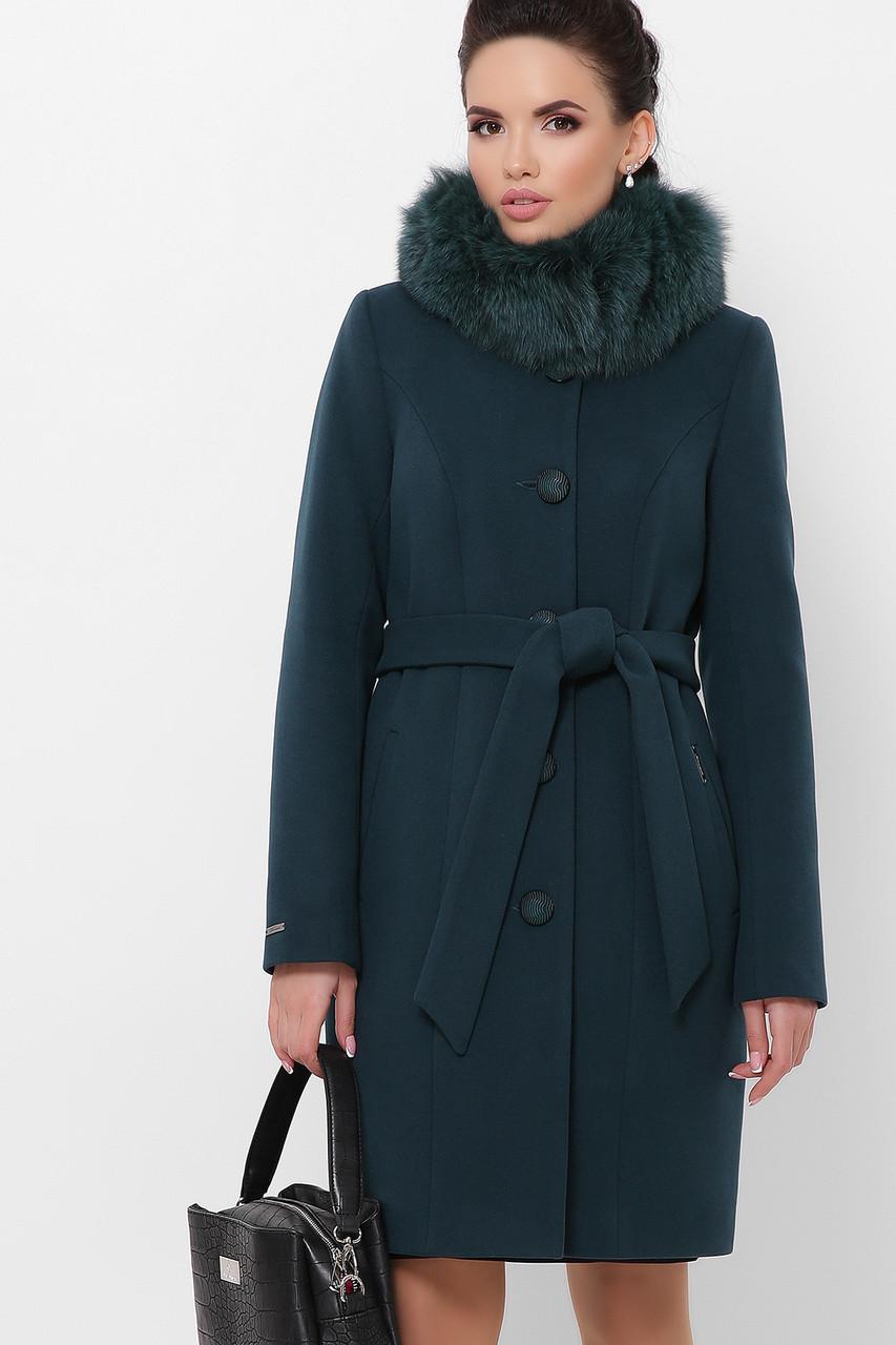 Женское Пальто П-330-90 з GLEM изумруд размер 46, (030-0010)