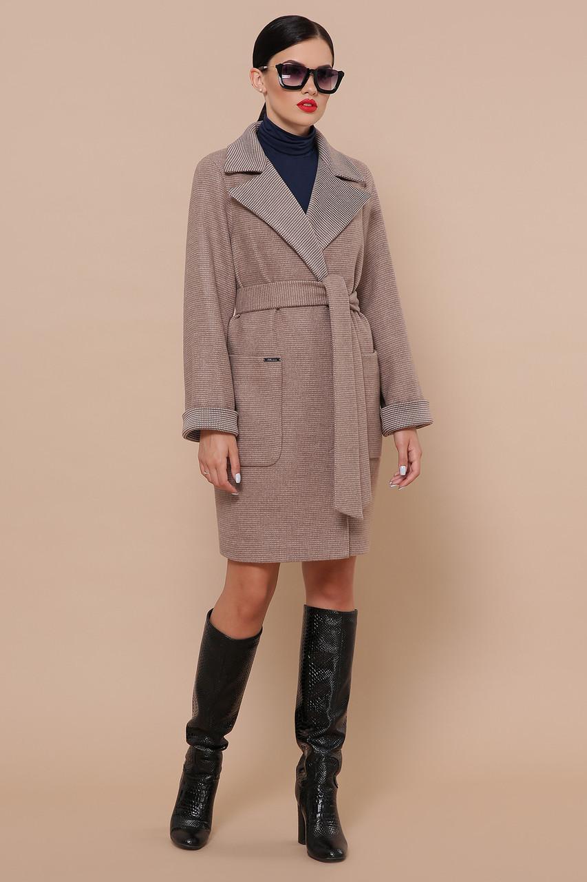Женское Пальто П-347-М-90 GLEM коричневый размер 52, (030-0014)