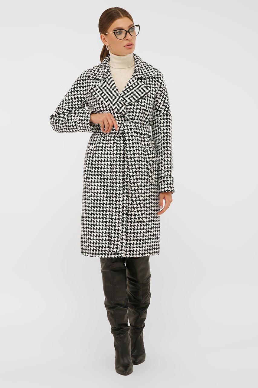 Женское Пальто П-399-100 GLEM лапка ч/б размер 44, (030-0017)