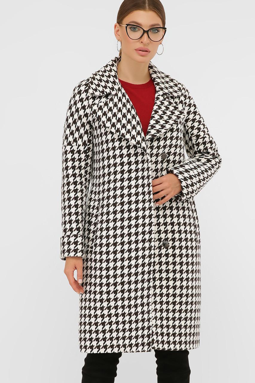 Женское Пальто П-399-100 GLEM лапка бело-коричневое размер 46, (030-0017)