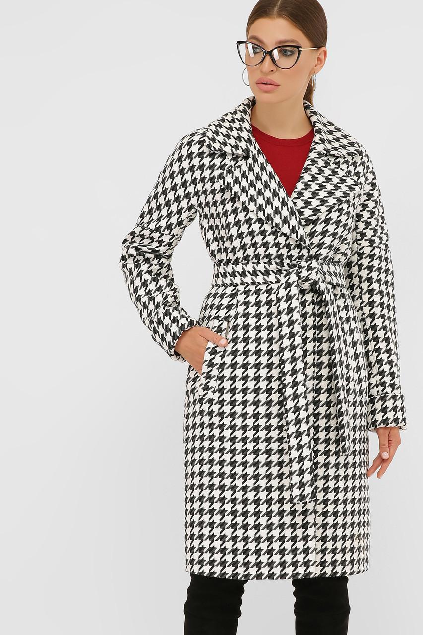 Женское Пальто П-399-100 GLEM лапка бело-серый размер 50, (030-0017)