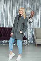 Демисезонное пальто женское серое