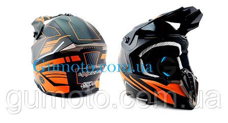 Кроссовый мотошлем Эндуро 806 Orange Matt S/M, фото 2