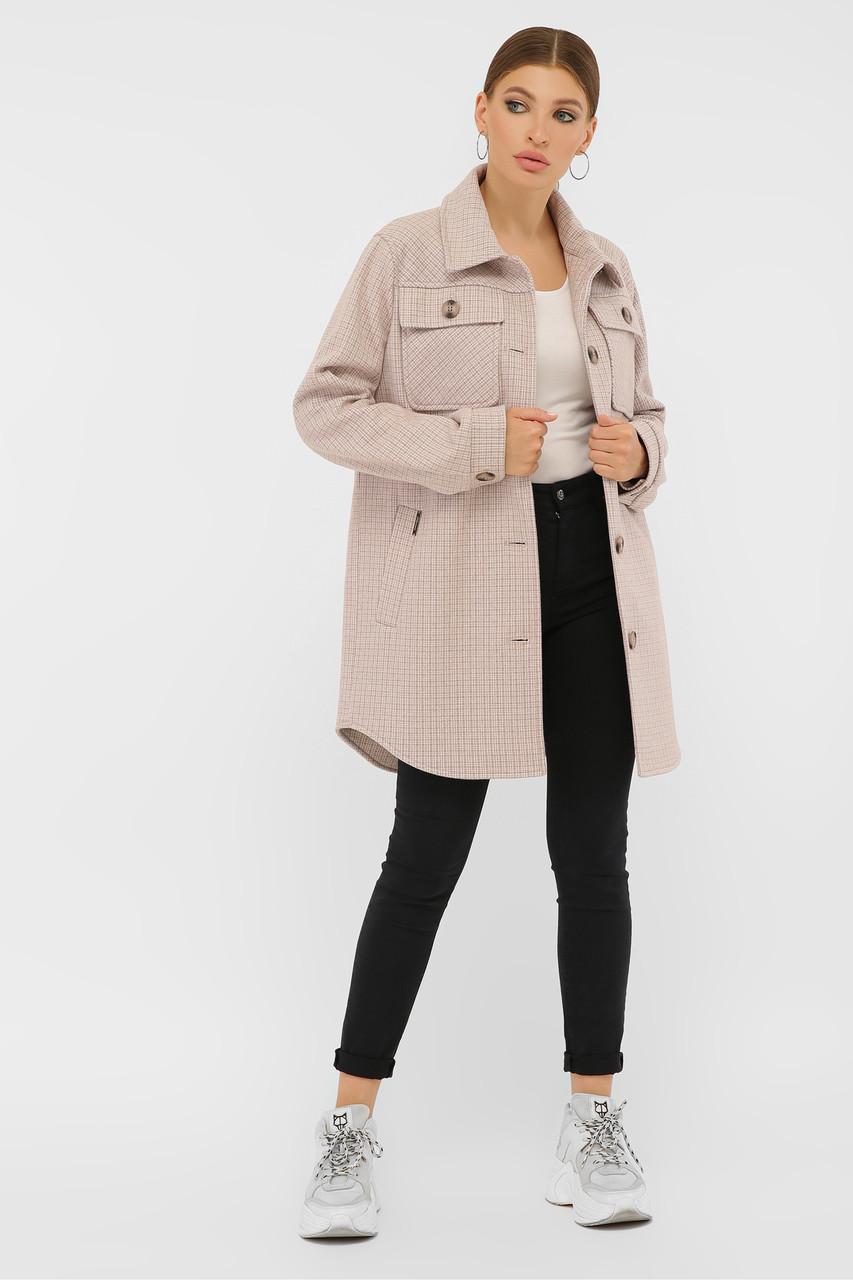 Женское Пальто П-409-85 GLEM пудра размер 48, (030-0019)