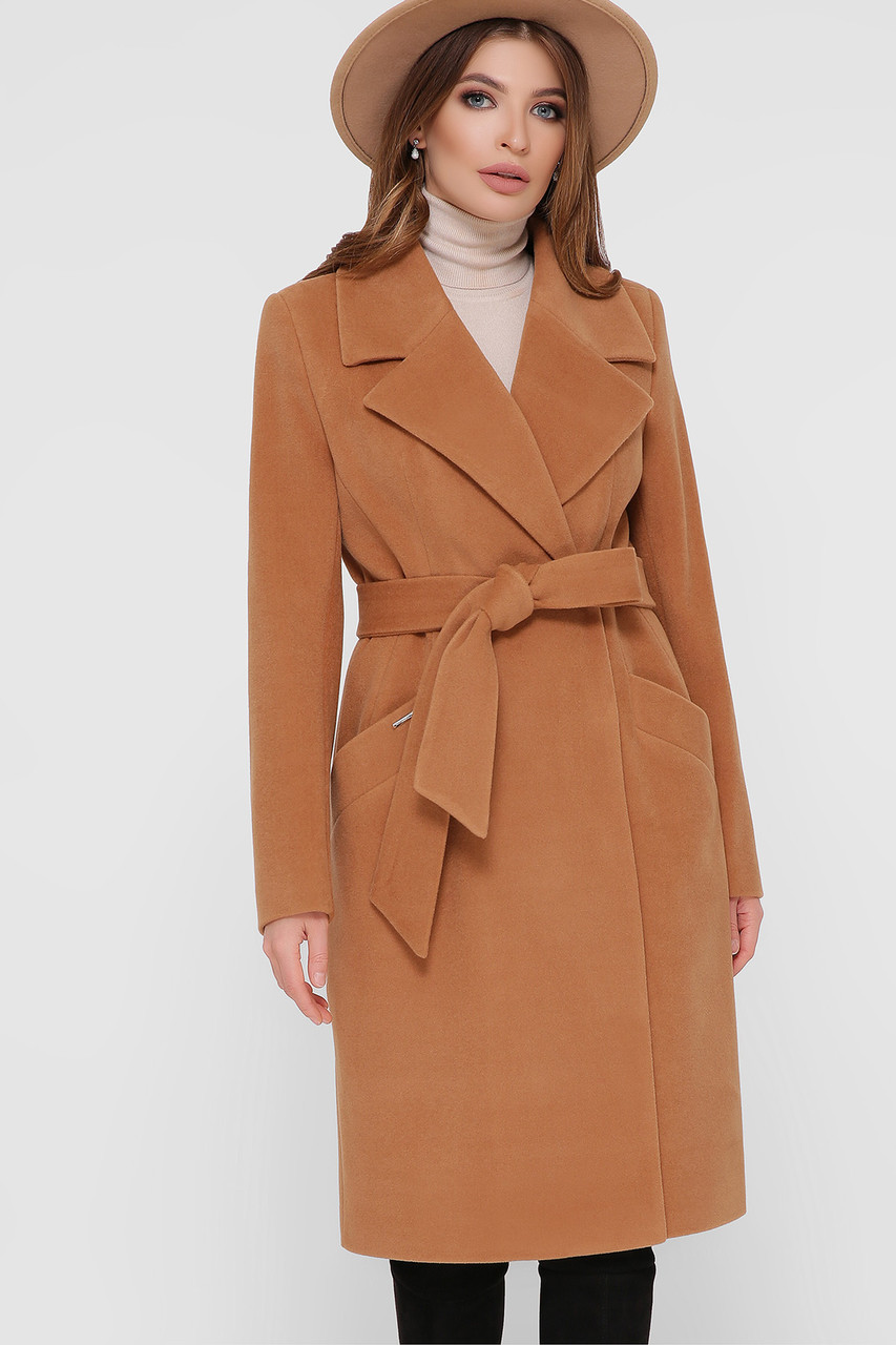 Женское Пальто ПМ-125 GLEM горчица размер 52, (030-0025)