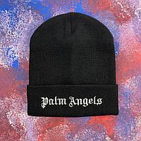 Чорна шапка Palm Angels з срібною вишивкою, фото 1