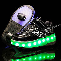 Роликовые кроссовки Angel с подсветкой, 2 колеса, в стиле heelys. Детские и Подростковые, черные (334 -12b)