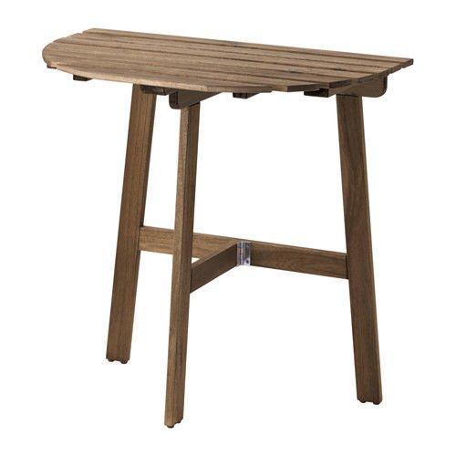 АСКХОЛЬМЕН Пристенный стол, садовый, складной серо-коричневая морилка, 70x44 см