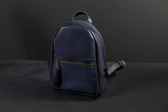 Женский кожаный рюкзак Лимбо, размер средний, кожа итальянский краст, цвет синий, фото 2