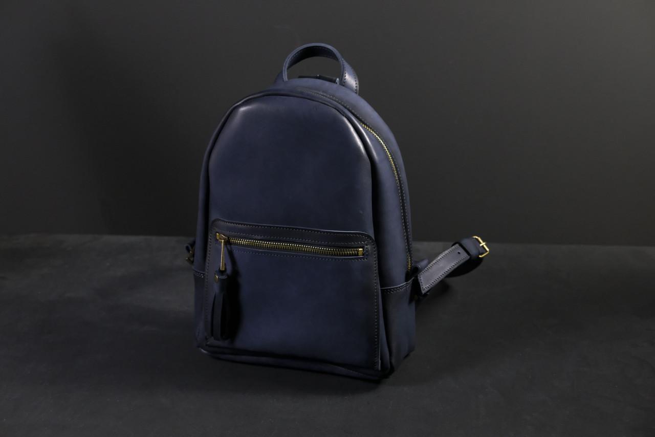 Жіночий шкіряний рюкзак Лімбо, розмір середній, шкіра італійський краст, колір синій