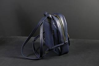 Жіночий шкіряний рюкзак Лімбо, розмір середній, шкіра італійський краст, колір синій, фото 2