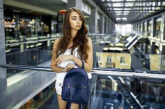 Жіночий шкіряний рюкзак Лімбо, розмір середній, шкіра італійський краст, колір синій, фото 3