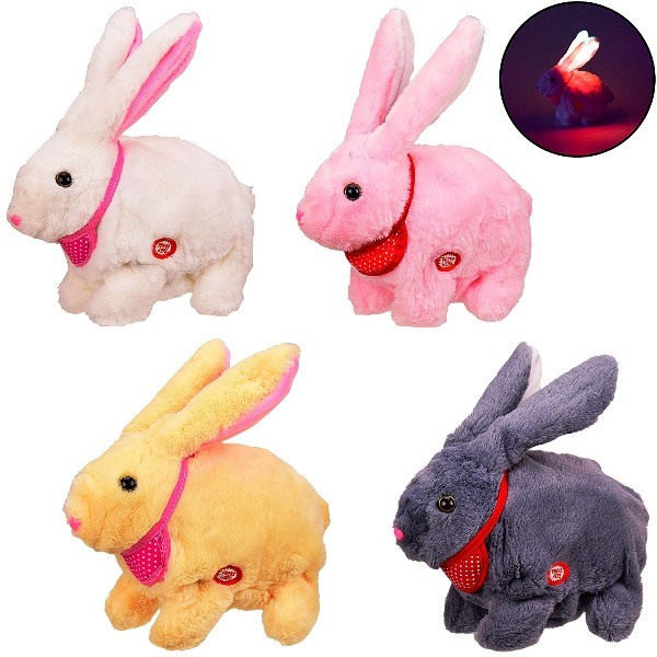 Мягкая интерактивная игрушка M142 кролик шевелит ушами, уши светятся, р-р игрушки-20*16*10см, в пак. ...