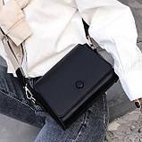 Женская классическая сумочка кросс-боди на широком ремешке 5288/11 черная, фото 4