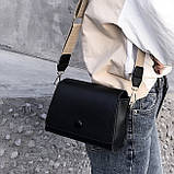 Женская классическая сумочка кросс-боди на широком ремешке 5288/11 черная, фото 8
