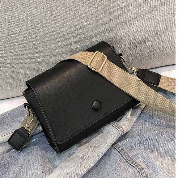 Женская классическая сумочка кросс-боди на широком ремешке 5288/11 черная